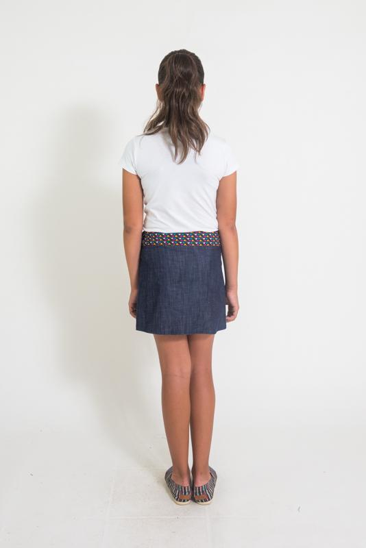 Suchi Kids Reversible Skirt - Bird Print / Denim