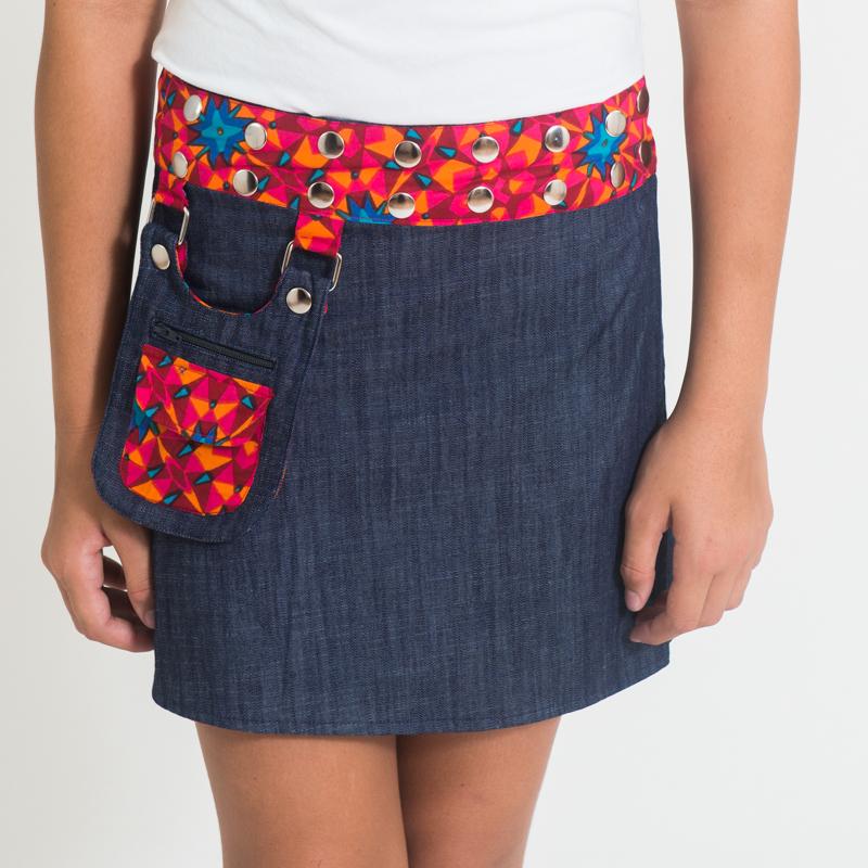 Suchi Kids Reversible Skirt - Star Red Blue / Denim