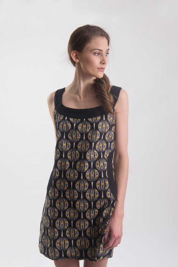 African Princess Dress - Pineapple Black