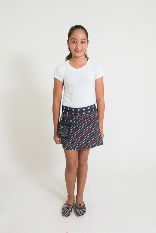 Suchi Kids Reversible Skirt - Bird Print / Denim
