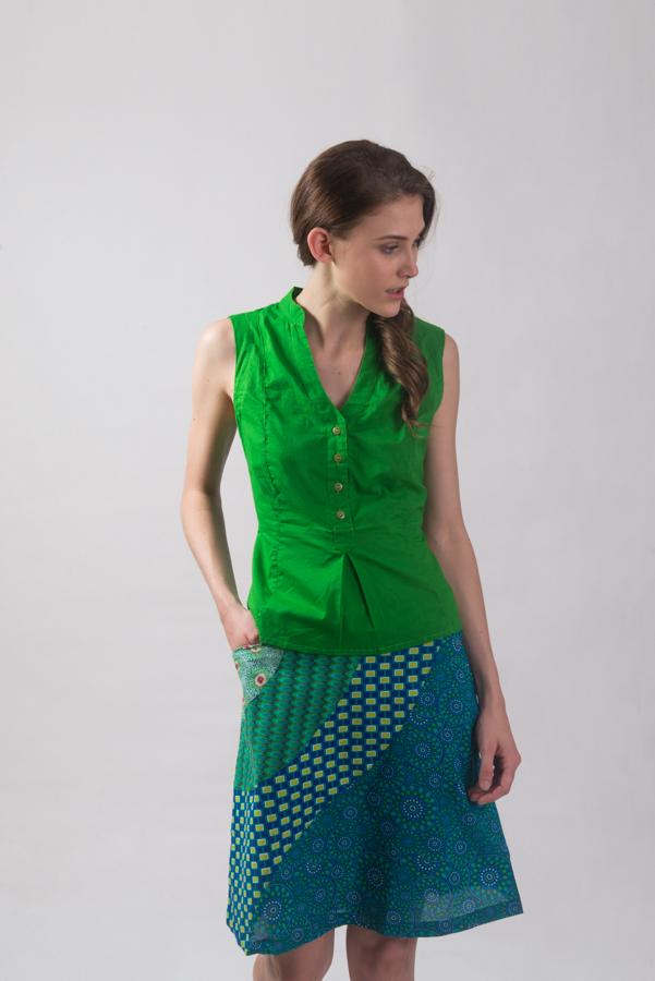 Wave Patch Skirt - Blue Green