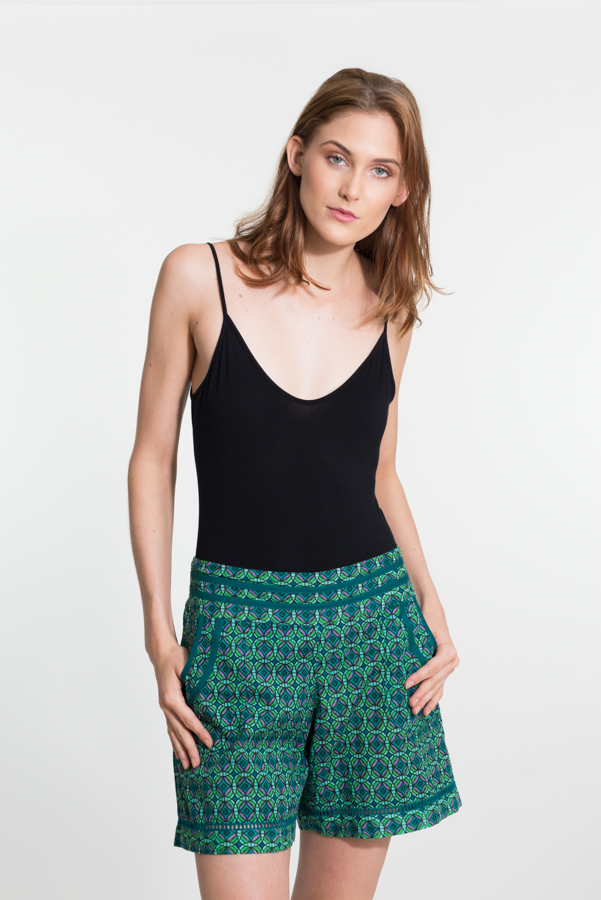 Chini Shorts - Geo Flower Green