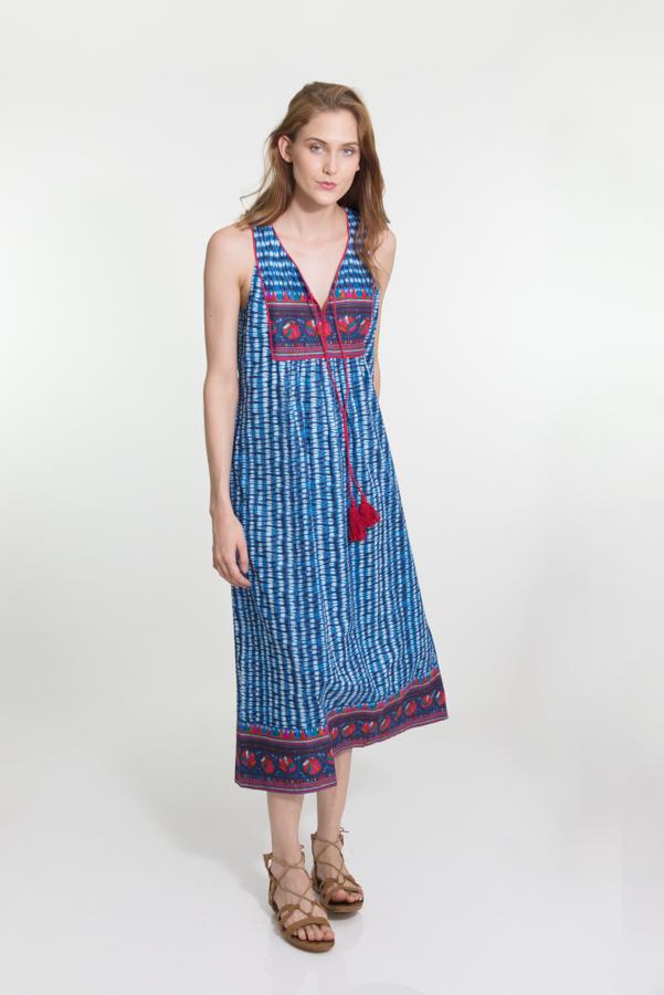Jaipur Dress Long - Indigo Flower