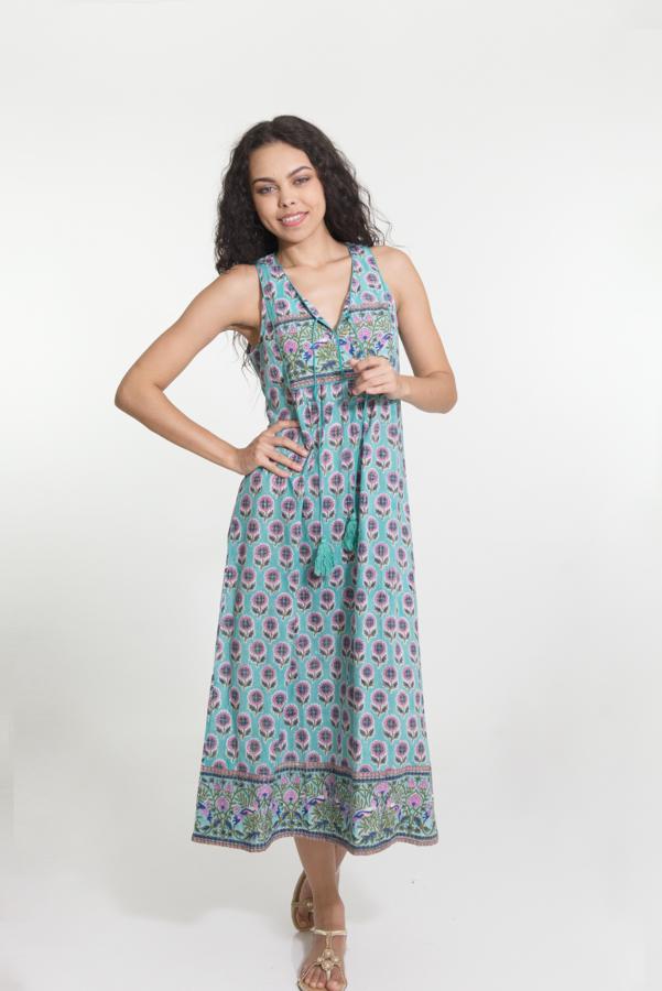 Jaipur Dress Long - Mint Block Print