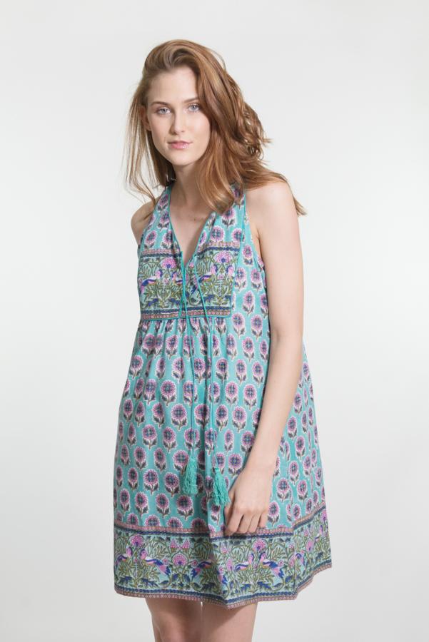 Jaipur Dress Short - Mint Block Print