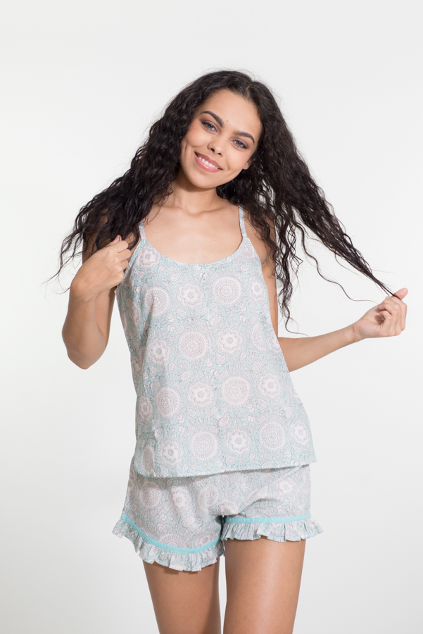 PJ Set - Light Blue Flower Block Print