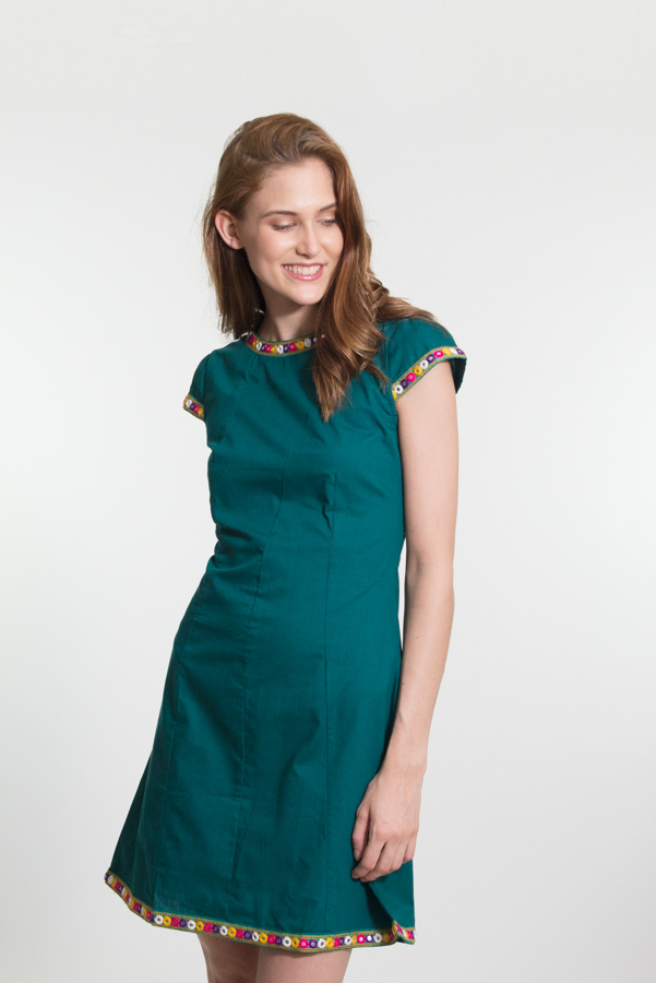 Rubi Dress - Dark Turquoise with Mirror Embroidery