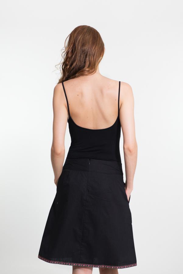 Shakti Skirt - Black Flower Embroidery