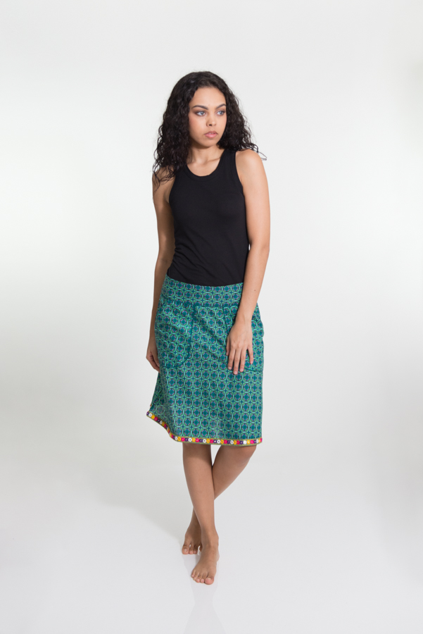 Shakti Skirt - Geo Green with Embroidery