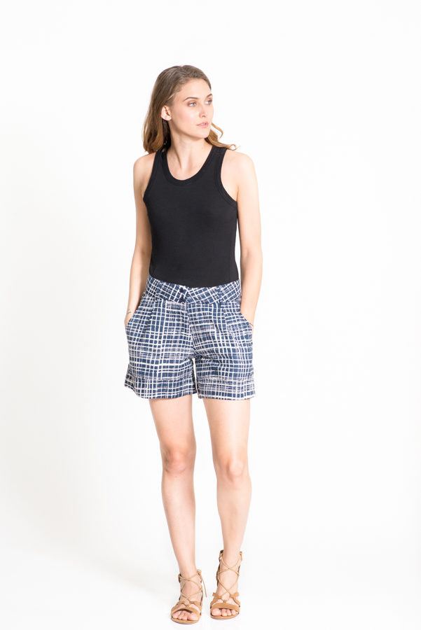 Alexi Shorts - Blue Check Print
