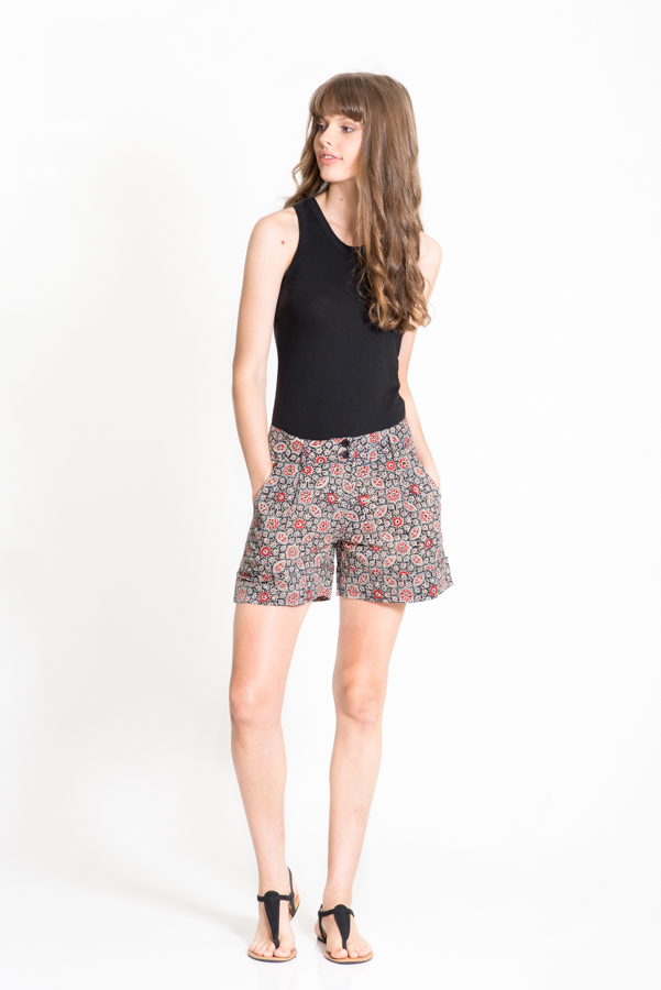 Anushka Shorts - Black Block Print