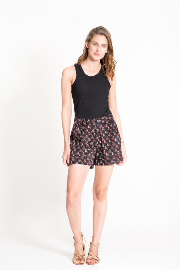 Anushka Shorts - Black Leaf Print