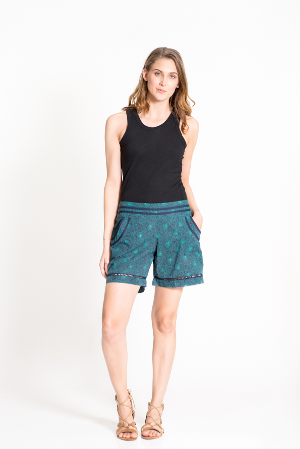 Chini Shorts - Green Flower Gold