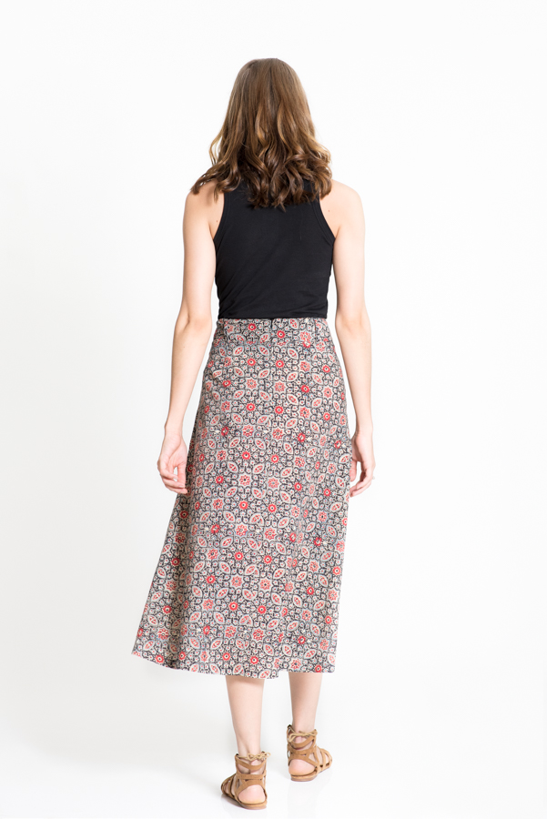 3/4 Length Skirt - Black Block Print