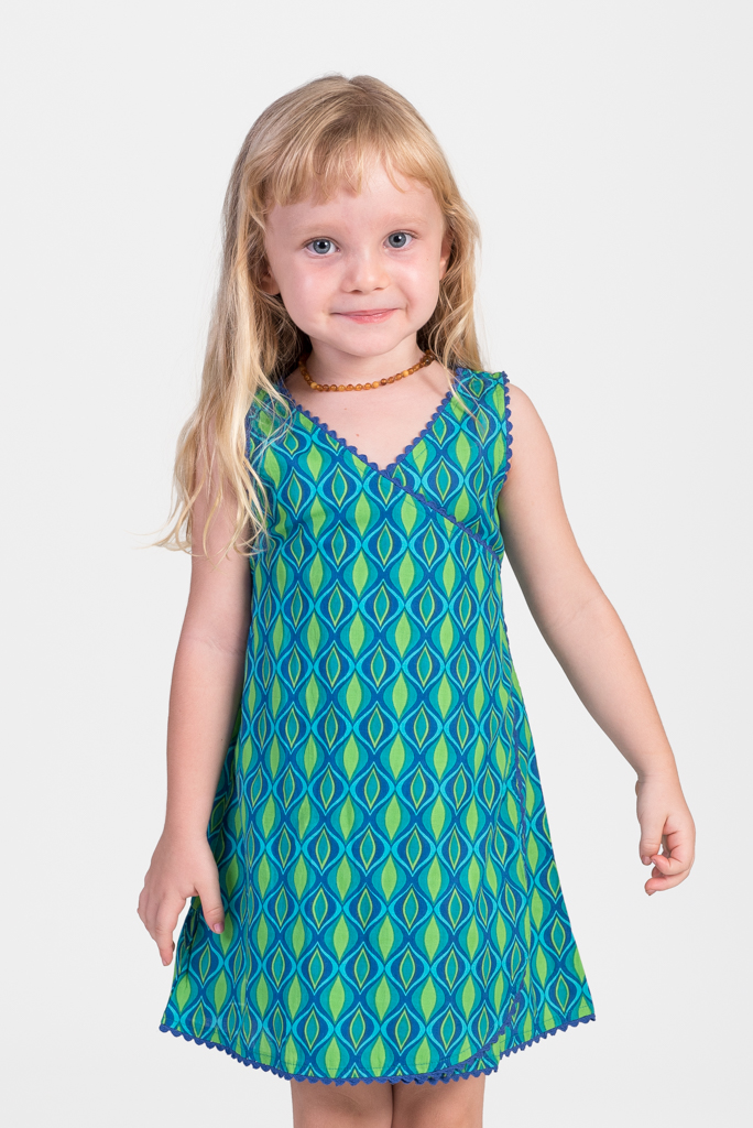 Kid's Wrap Dress - Green Eyes