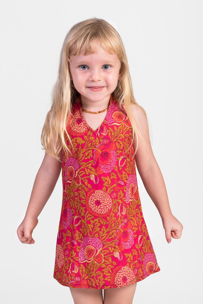 Kid's Panelop Dress - Pink Garden