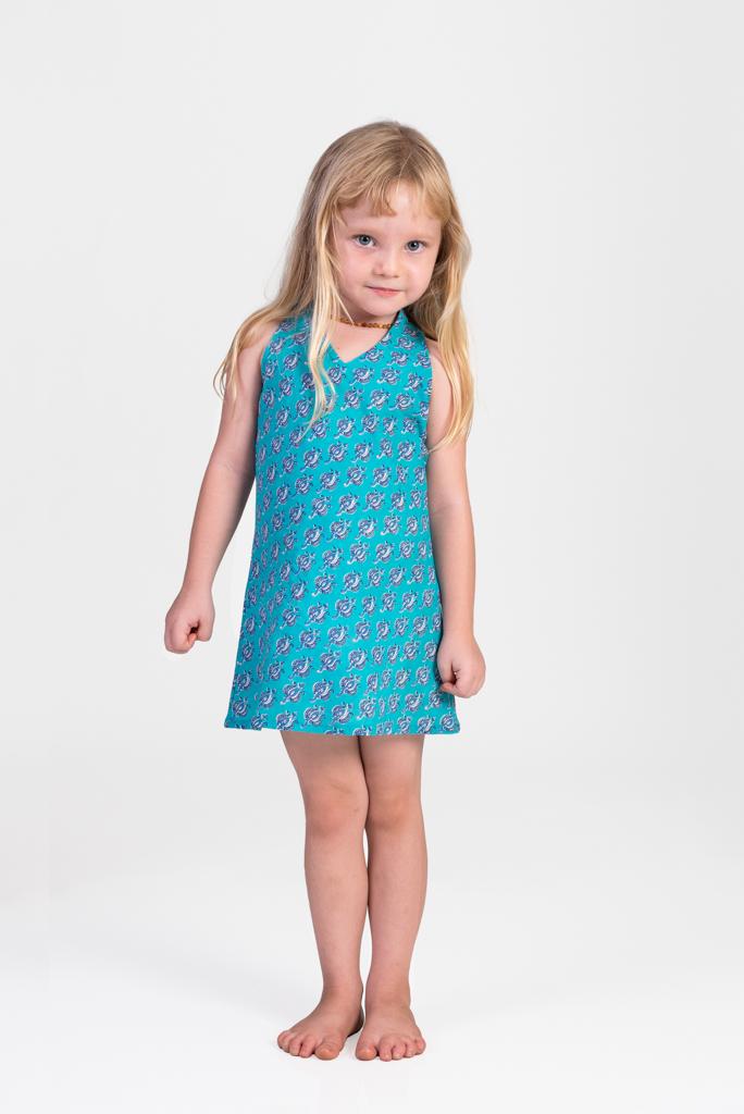 Kid's Panelop Dress - Blue Block Print