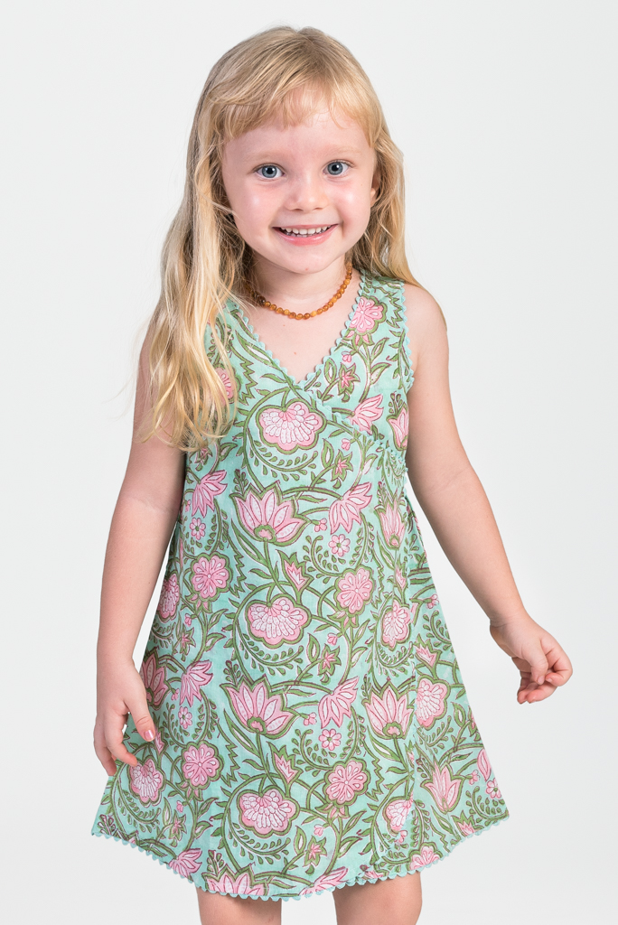 Kid's Wrap Dress - Green Block Print