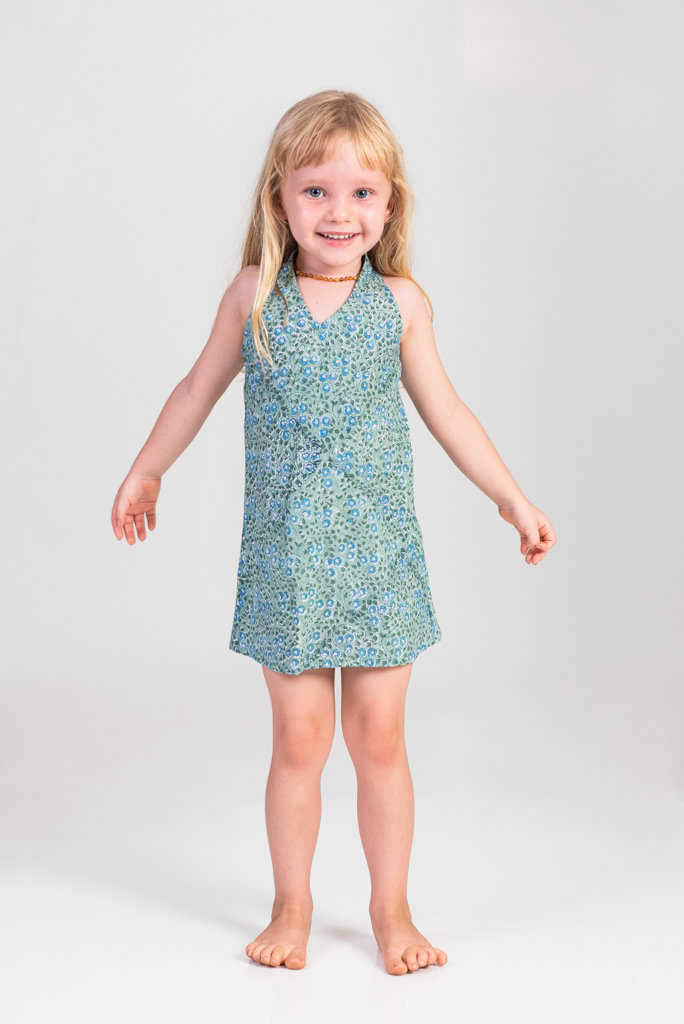 Kid's Panelop Dress - Blue Camomile