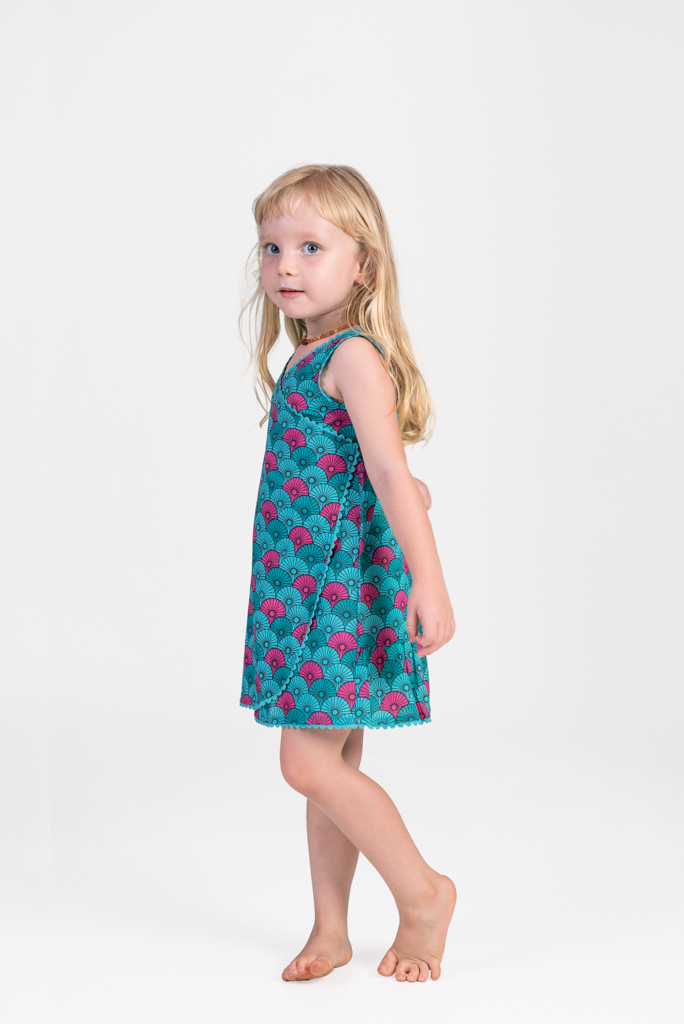 Kid's Wrap Dress - Turquoise / Pink Fans
