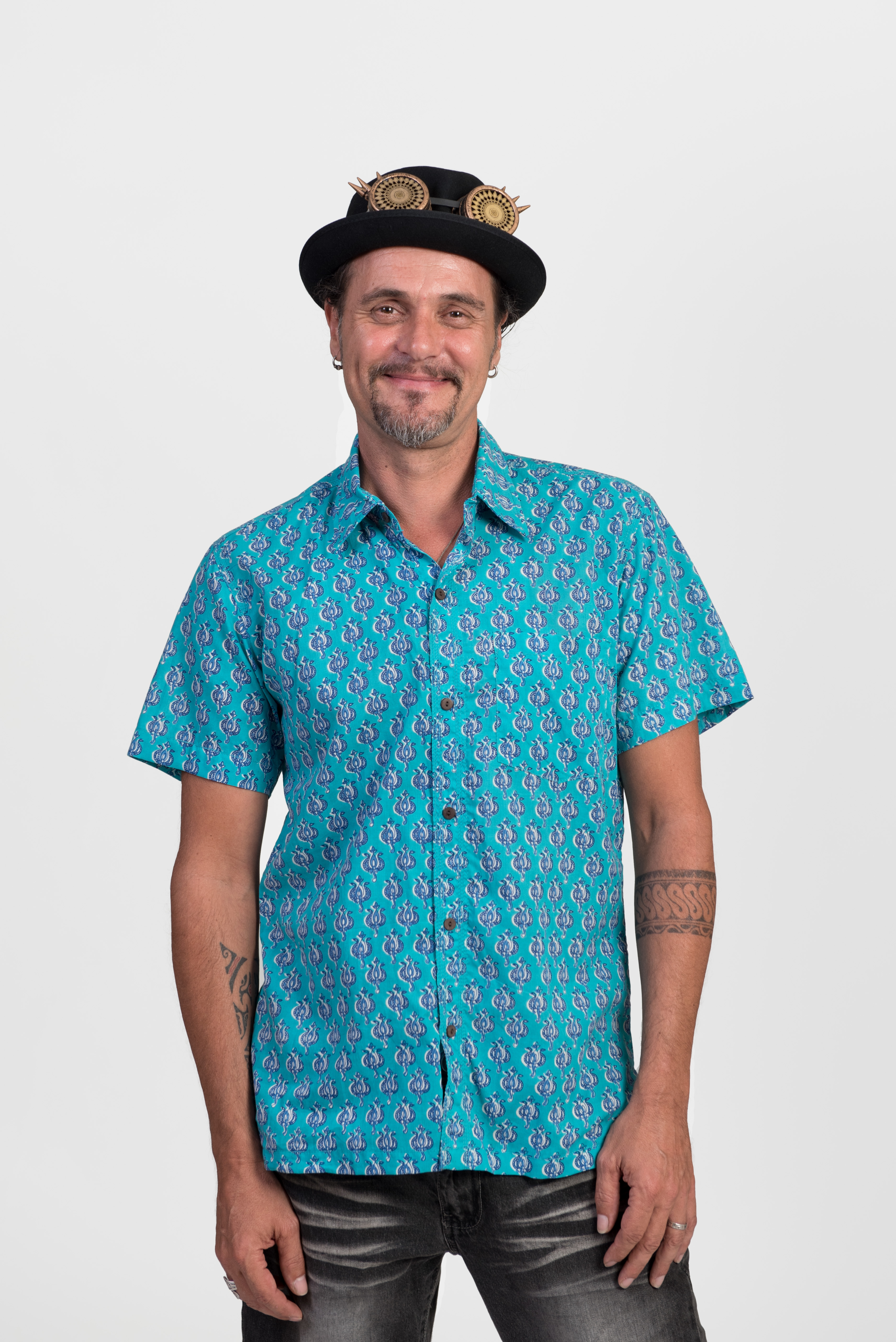 Men's Shirt - Aqua Block Print
