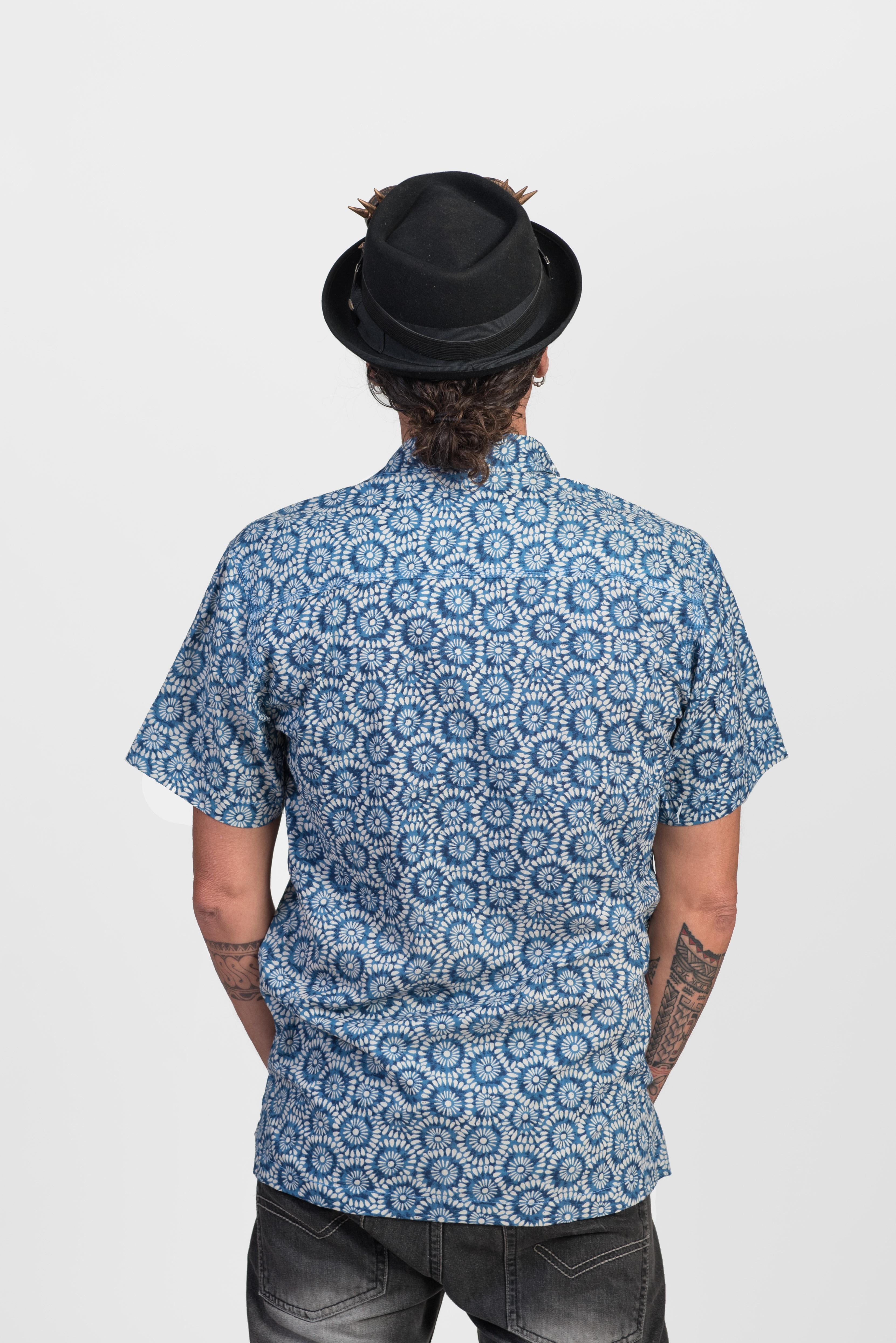 Men's Shirt - Blue Flowers