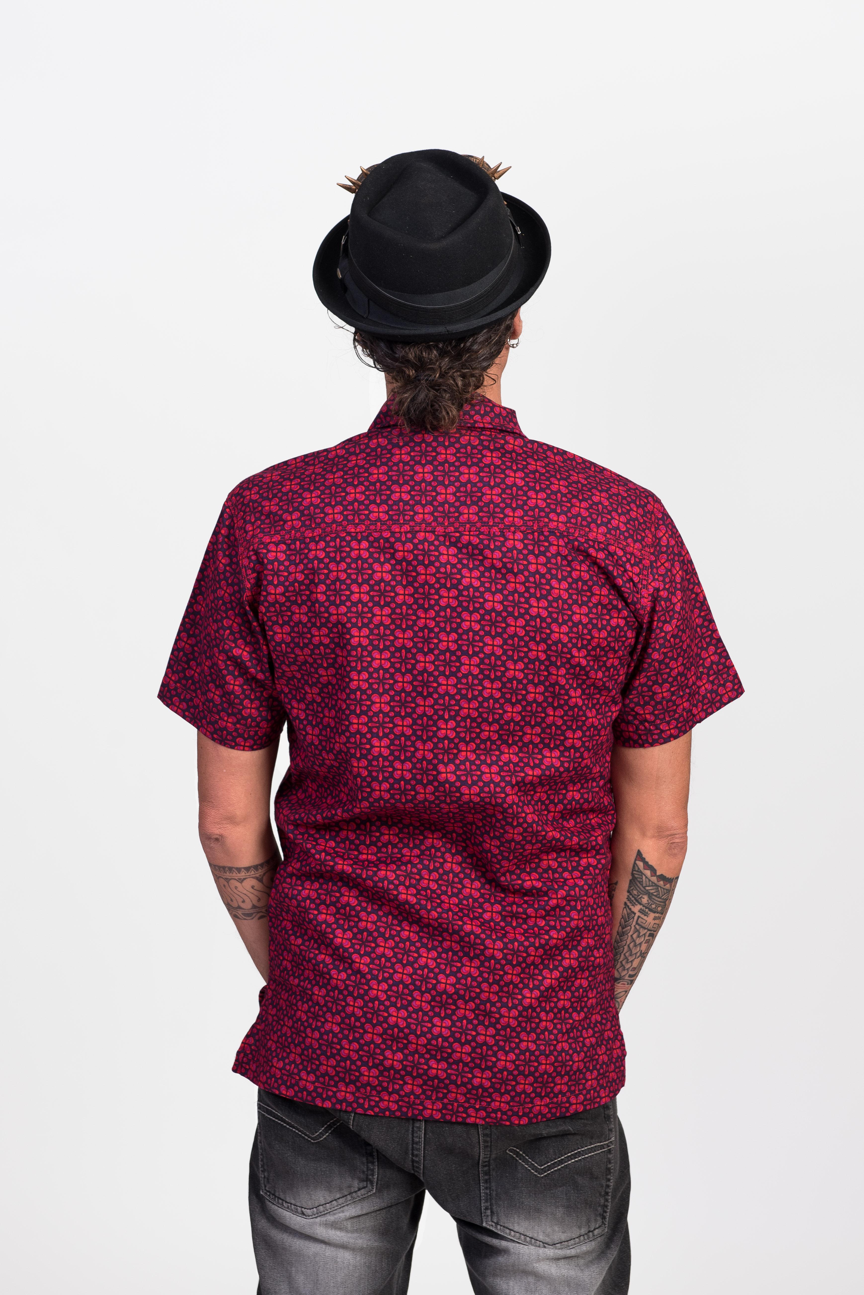 Men's Shirt - Geo Flower Purple
