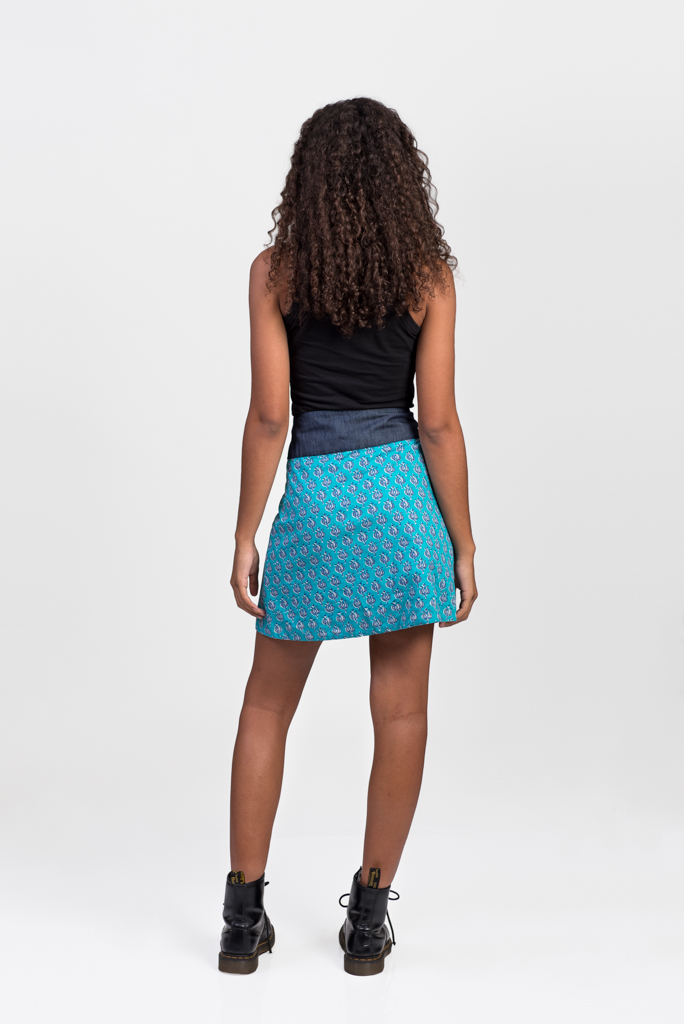 New Energy Reversible Skirt Short - French Turquoise / Aqua Block Print