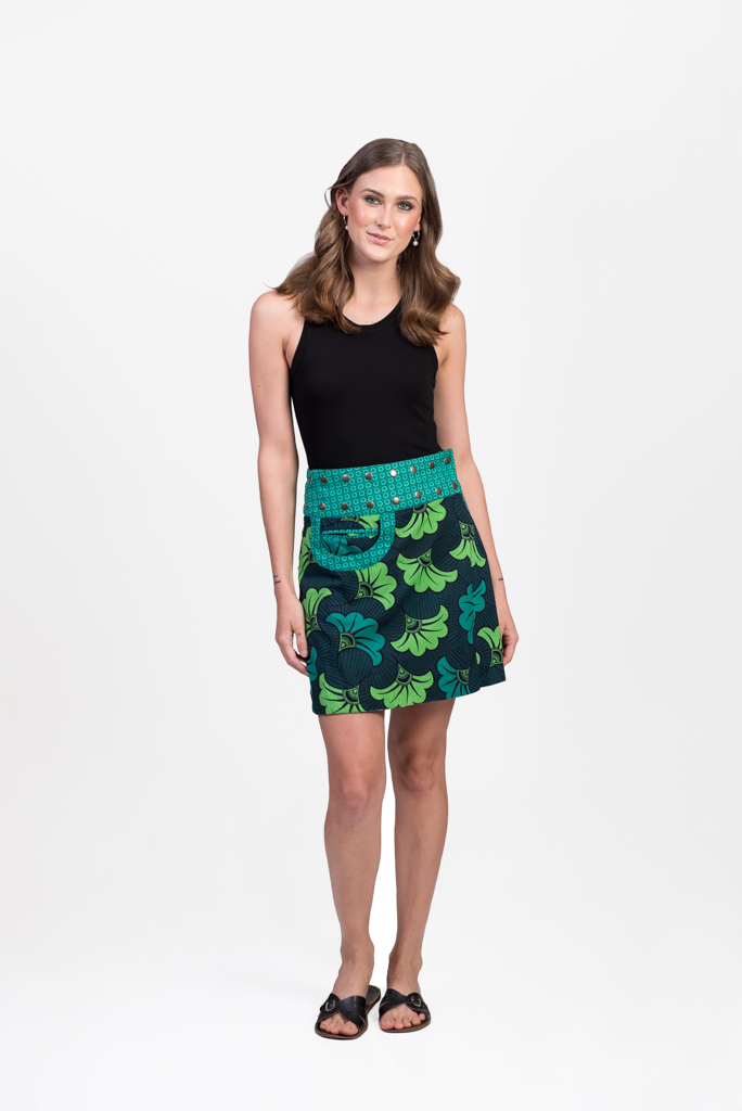 New Energy Reversible Skirt Short - Flower Fans Green / Angel Green