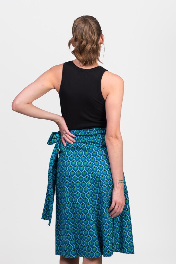Reversible Wrap Skirt - Blue