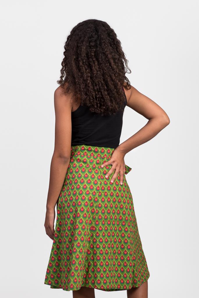 Reversible Wrap Skirt - Green
