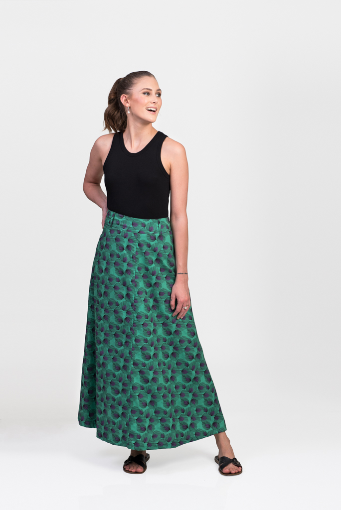 Sita Maxi Skirt - Green Feather