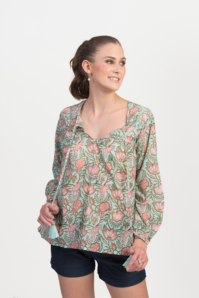 Jodhpur Top - Green Block Print