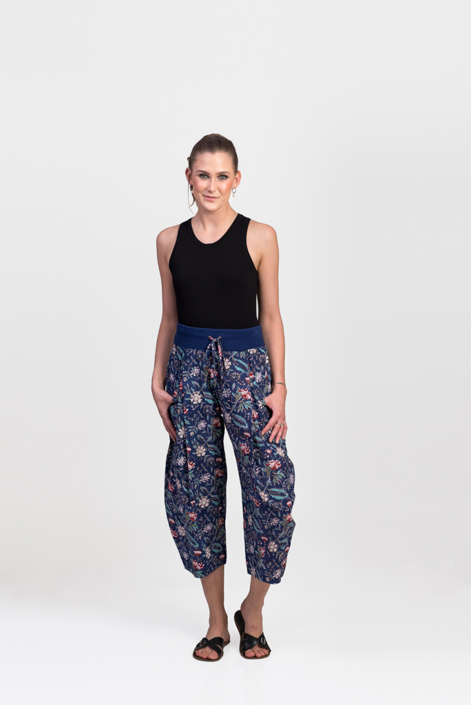 Yoga Pants - Dark Blue Block Print
