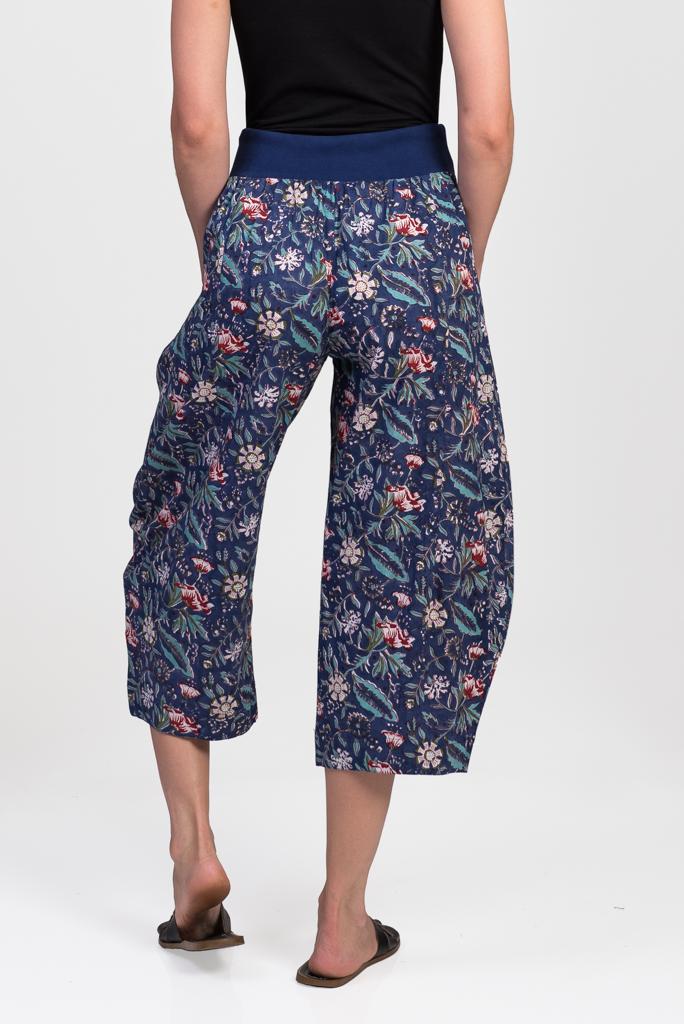 Yoga Pants - Dark Blue Block Print