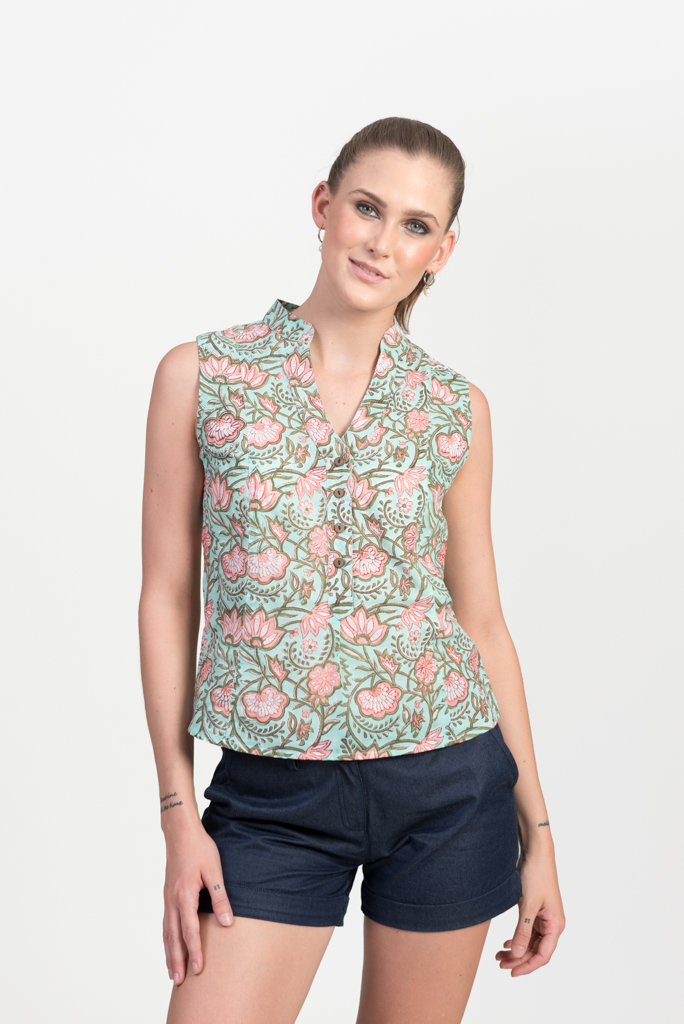 Zoe Top - Green Block Print