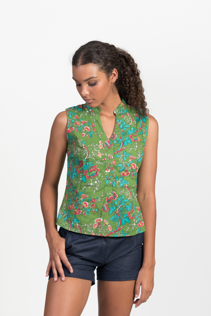 Zoe Top - Green Hibiscus