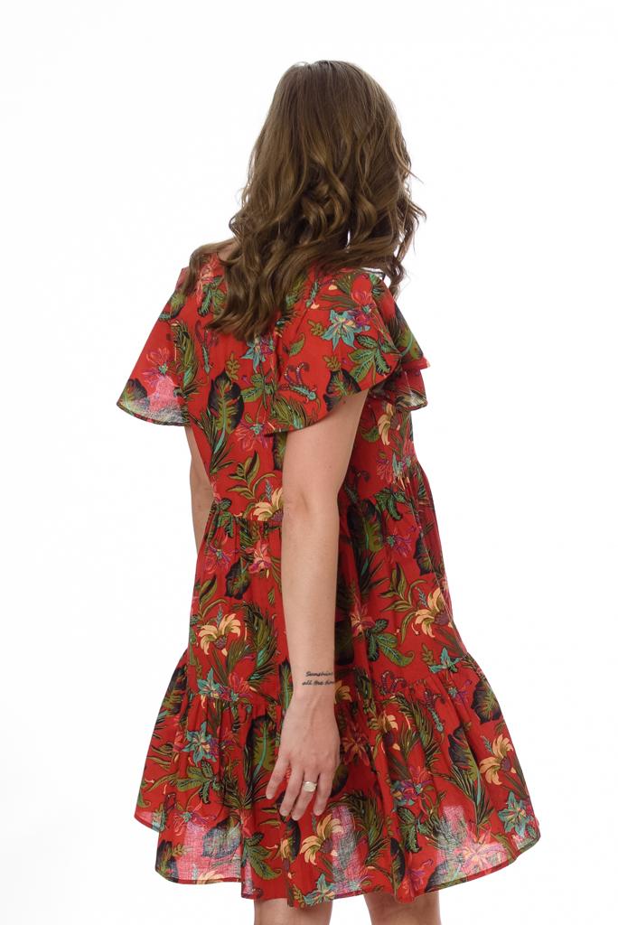 AVA WOMENS DRESS – TROPICAL RED