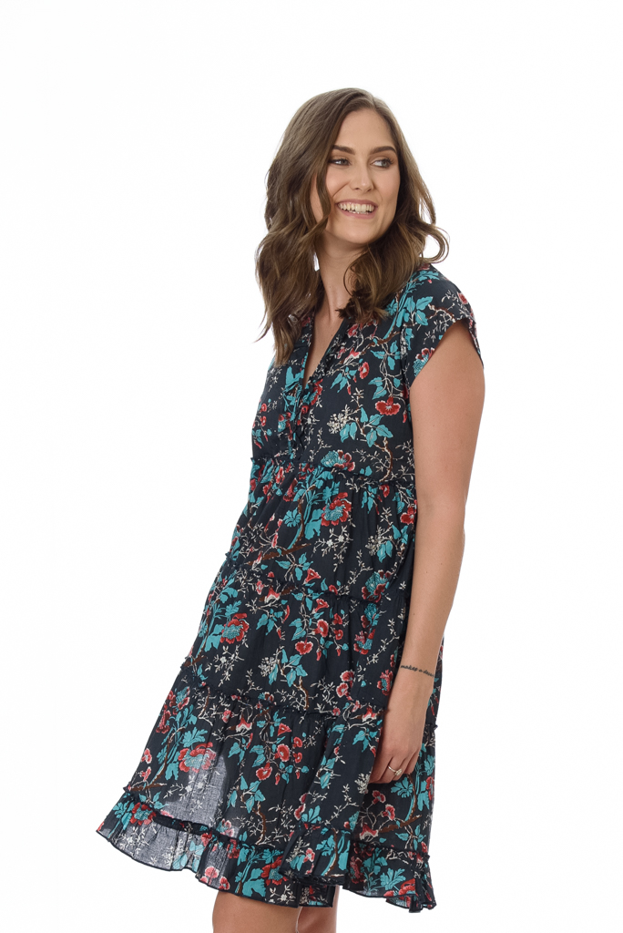 AMORE WOMENS DRESS – INK HIBISCUS