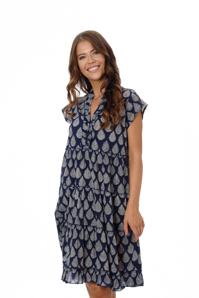 AMORE WOMENS DRESS – NAVY PALM LEAF BLOCK PRINT