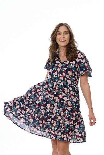 Womens Dress - AVA DRESS – NAVY FLOWER