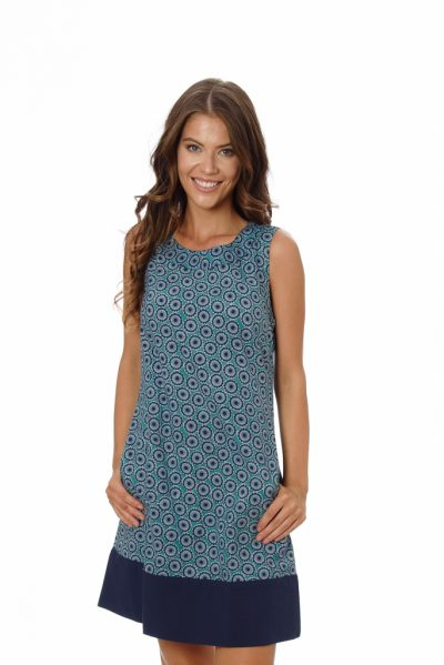 Womens MILLIE DRESS – NAVY MANDALA close front