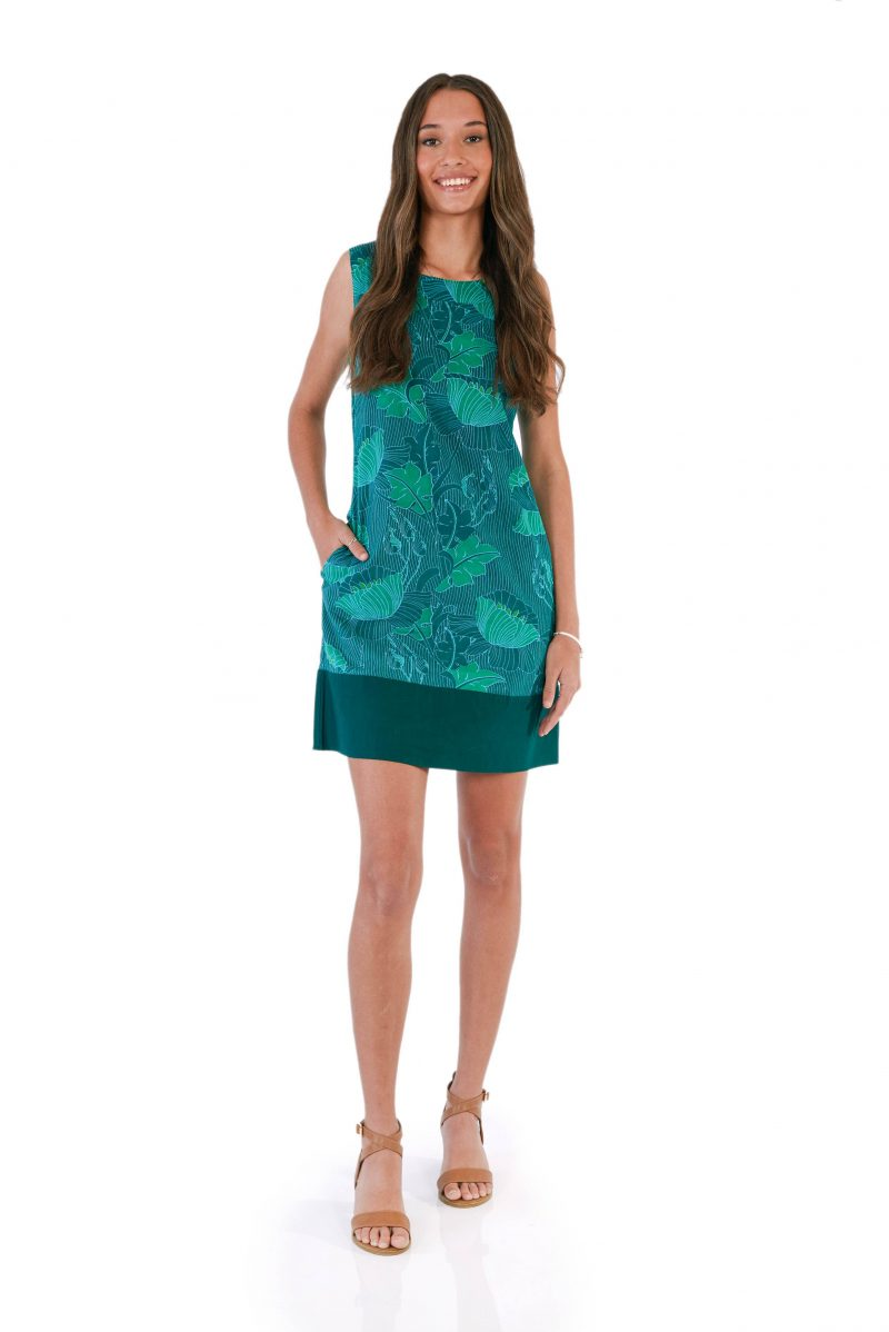 womens Millie Dress - Lotus Green front