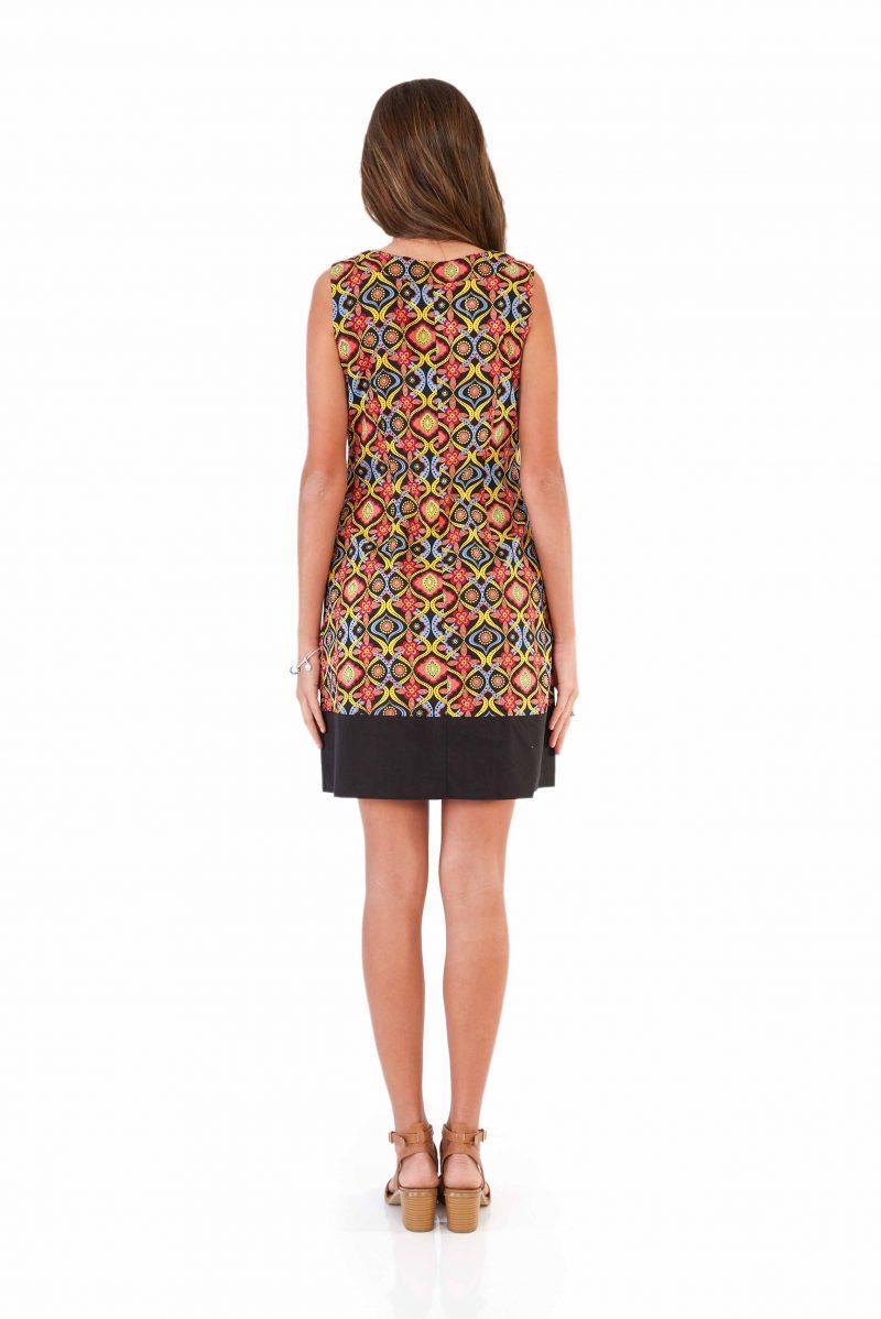 womens Millie Dress - Kaleidoscope Black back
