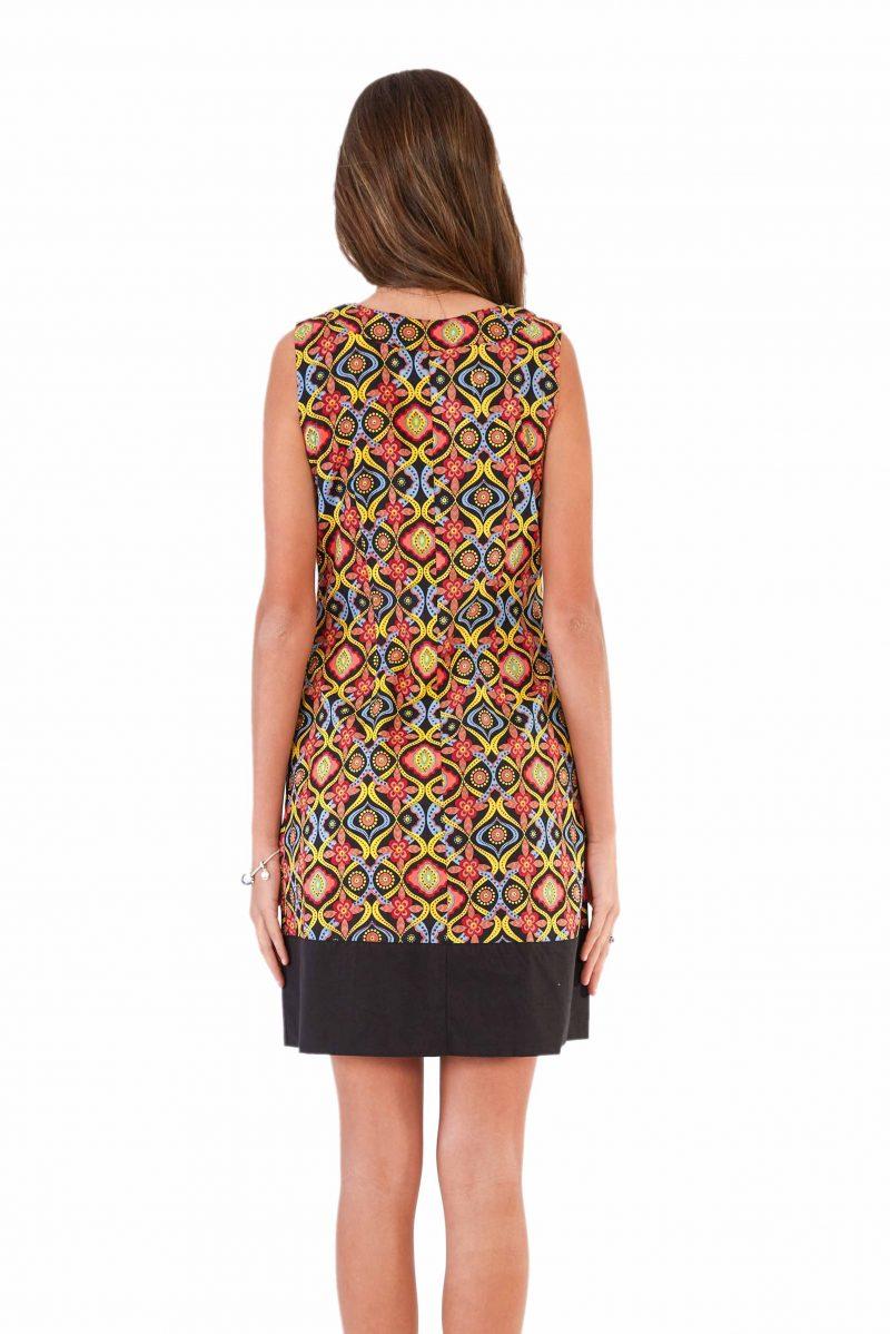 womens Millie Dress - Kaleidoscope Black back close
