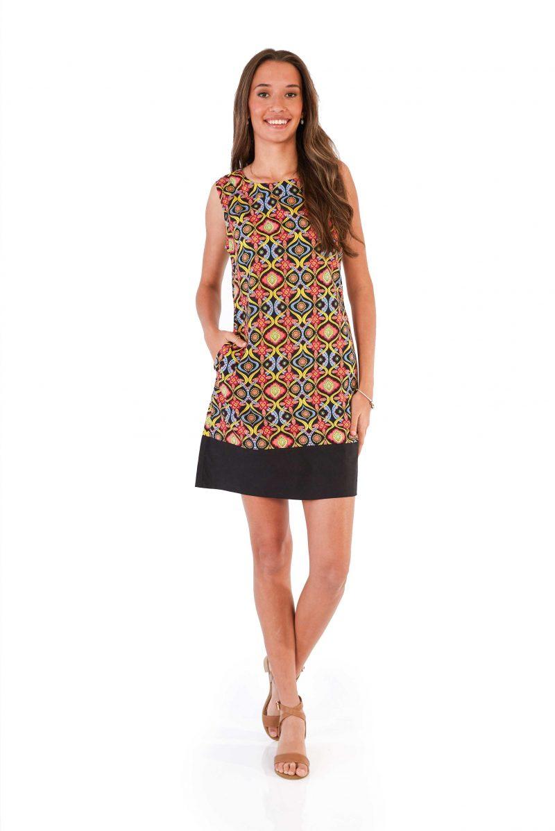 womens Millie Dress - Kaleidoscope Black front