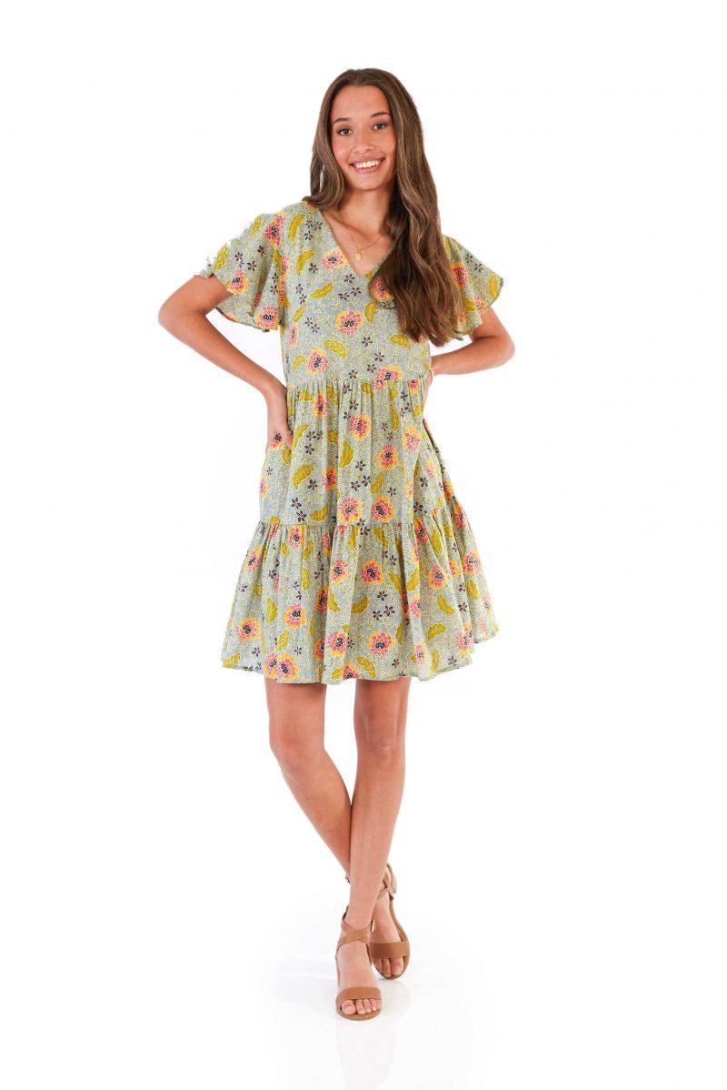 womens Ava Dress - Bali Denim front