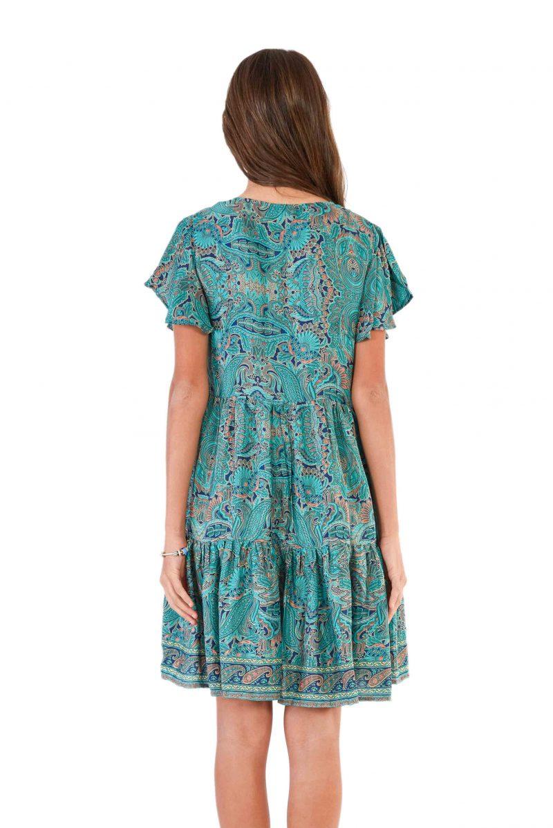 womens Ava Dress - Green Nirvana back close