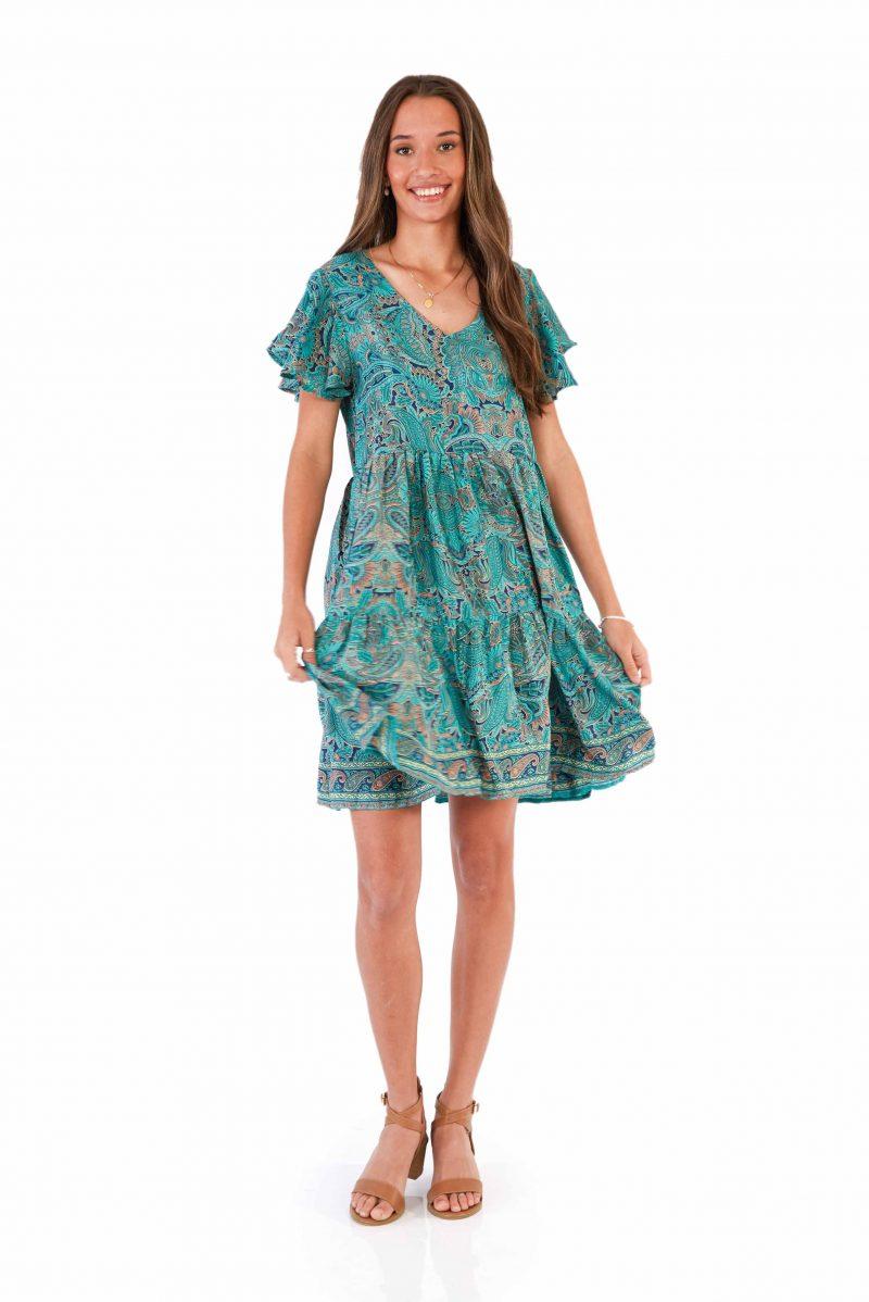 womens Ava Dress - Green Nirvana front