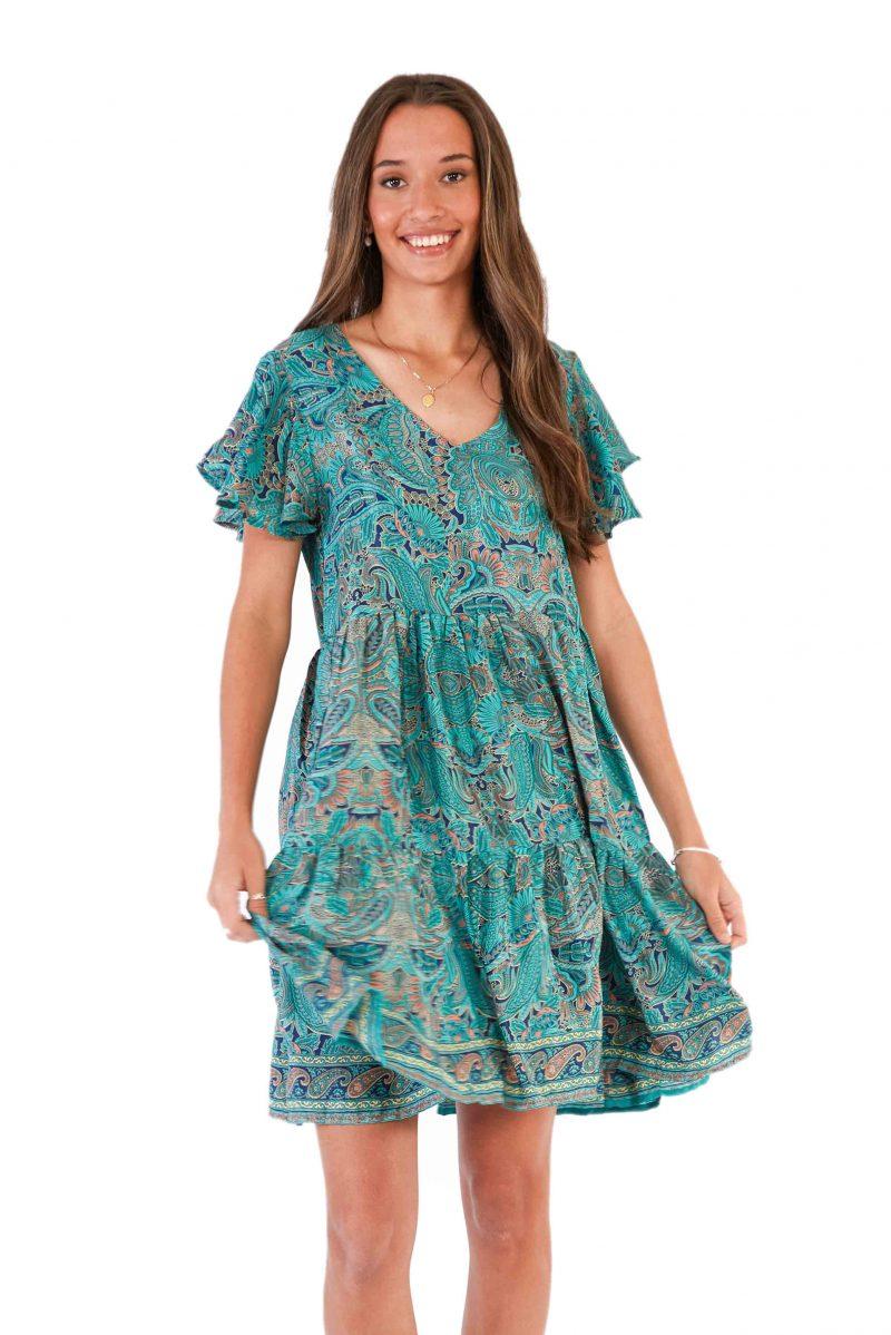 womens Ava Dress - Green Nirvana